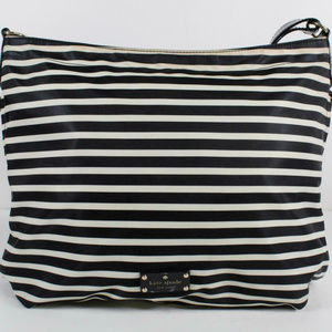 ❤️HUGE KateSpade BlackBeige StripeNylon Large Bag